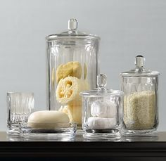 Restoration Hardware Faceted Glass Accessories. This would look amazing in my 50's bathroom!