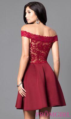 Image of short off-the-shoulder embroidered lace dress. Back Image