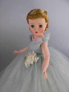 "Vintage Madame Alexander Doll ""ELISE"" Blue Dotted Tulle Gown"