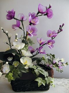 Handmade Purple and White Orchids  Arrangement by LiYunFlora, $40.00