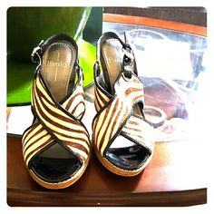 New Linea Paolo zebra wedges 9.5 This is a quality Italian shoe.Never worn. 4 inch heel with non slip runber sole.  Callfhair , price firm unless bundled.True to size. Linea Paolo Shoes