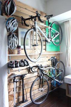 Hanger rack Custom bikes motorcycles The S Garage Velo, Garage Gym, Bicycle Storage Garage, Bike Storage Room, Bike Hanger, Bicycle Rack, Hanger Rack, Garage Organisation, Garage Storage