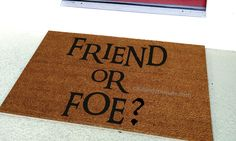 Friend or Foe Custom Handpainted Welcome Doormat by KillerDoormats on Etsy