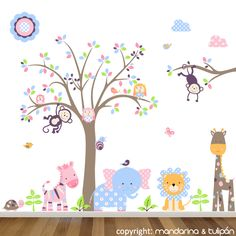Los animales de la selva en una colección fantástica. Vinilos infantiles creados a tu gusto, con los colores que elijas. Las figuras son a tamaño grande y a los peques les encantan!