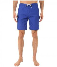 Scotch & Soda - Long Length Swim Shorts in Solid All Over Printed (Cobalt) Men's Swimwear