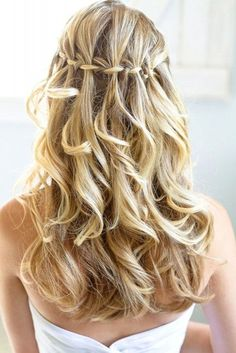 Wedding Hairstyles For Long Hair - Waterfall Braids. See more at http://www.weddingforward.com/wedding-hairstyles-long-hair