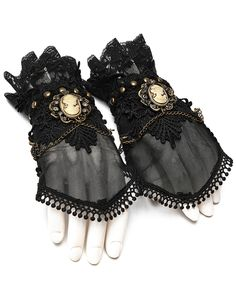 Apparel Accessories Honey Steampunk Armband Vintage Fingerless Leather Gloves Wide Cuff Bracelet