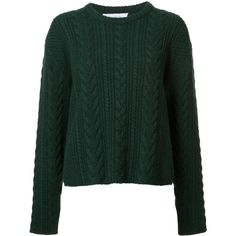 Ryan Roche cable knit cropped jumper found on Polyvore featuring tops, sweaters, shirts, green, green sweater, green top, green crop top, crop shirt and cropped cable knit sweater