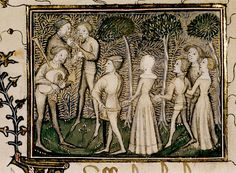 Roman de la Rose. French c.1390. detail. bodl_eMus.65 Dance in the garden, a carole, to the accompaniment of three musicians with bagpipe and pipes. Grisaille drawing of figures against gold filigree and coloured ground. (line 727) (Manuscript leaf bound in wrong order.) https://www.flickr.com/photos/tonyynot/7167154159