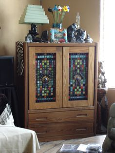 Dresser Stained Glass Art, House Design, Stained Glass Mosaic, Home Projects, Mosaic Glass, Living Spaces, House Plans, Home Decor, Panel Doors