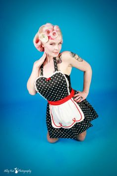 retro apron LUCY  red Black Polka Dot APRON by loverdoversclothing, $32.00