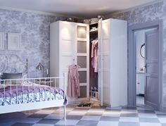 Great use of space! Corner wardrobe! ...maybe for the room where we gut the closet to make a reading nook!