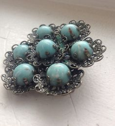 STUNNING VINTAGE silver and turquoise brooch gift by ajwear, $10.00
