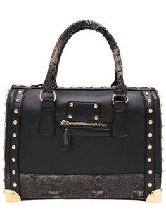 Black Serpentine Studded PU Tote Bag