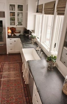 Supreme Kitchen Remodeling Choosing Your New Kitchen Countertops Ideas. Mind Blowing Kitchen Remodeling Choosing Your New Kitchen Countertops Ideas. Soapstone Kitchen, Kitchen Countertop Materials, Kitchen Cabinets, White Cabinets, Concrete Countertops, Concrete Kitchen, Diy Concrete, Wooden Kitchen, Cheap Kitchen Countertops
