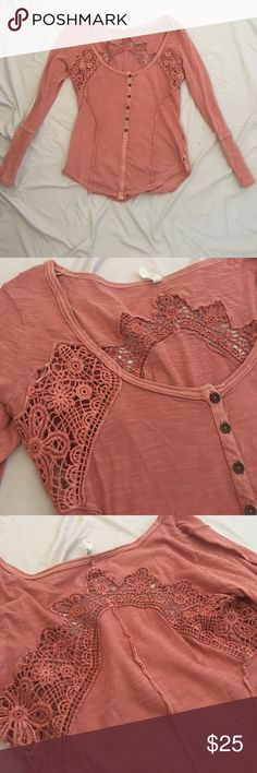 Free People long sleeve top with lace details Perfect condition, barely worn! Free People Tops Tees - Short Sleeve