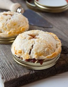 Mason jar lids make PERFECT mini portable pies for summertime! This recipe makes just 2 quart-size lid mason lid pies, but easily makes 4 regular sized..or recipe can be doubled/tripled/whatever-makes-you-happy! @DessertForTwo