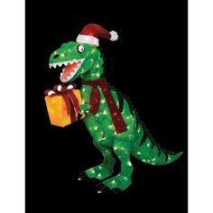 animated tinsel dinosaur christmas decoration i want this but not 140 worth thats probably the value of all of my holiday decora