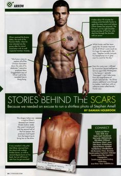 "An Arrow TV Guide Comic-Con Special discusses how the ""Arrow"" star gets his scars, both in real life and the show. Arrow Cw, Arrow Oliver, Team Arrow, Arrow Tv Series, Cw Series, Arrow Flash, Looks Baskets, Arrow Memes, Arrow Funny"