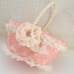 Flower Girl Basket - Lace Bridal Basket in Coral, Peach and Ivory - My dream wedding