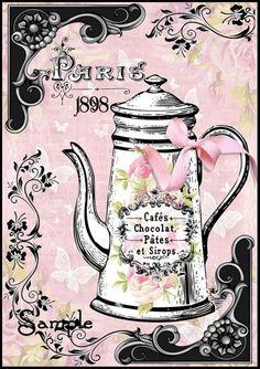 Paris Chocolate Pot Collage French Shabby Chic Transfer Craft Digital | SenecaPondCrafts - Digital Art  on ArtFire