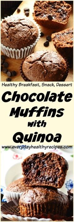 Chocolate Muffins with Quinoa These easy and delicious Chocolate Muffins with Quinoa are made with a moderate amount of sugar and fat and can be enjoyed for breakfast brunch or even as a healthier dessert/snack. Healthy Chocolate Muffins, Delicious Chocolate, Chocolate Desserts, Mini Desserts, Low Carb Desserts, Healthy Desserts, Healthy Recepies, Breakfast Recipes, Snack Recipes