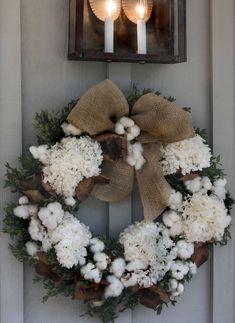 Cotton bolls and white hydrangea wreath