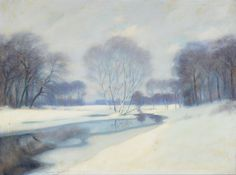 "CONTINENTAL SCHOOL (First Half 20th Century) ""Winter Landscape,"" Oil on canvas #michaans http://www.michaans.com/highlights/2014/highlights_11022014.php"