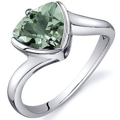 Trillion Cut Bypass Style 1.50 carats Green Amethyst Ring in Sterling Silver Rhodium Nickel Finish Size 5, Available in Sizes 5 thru 9 Peora