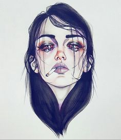 Pιnтereѕт nadynnn ❁ illustration art, drawings y sad girl dr Sad Girl Drawing, Tumblr Girl Drawing, Art And Illustration, Landscape Illustration, Girl Illustrations, Scary Paintings, Smoke Drawing, Sad Art, Girl Sketch