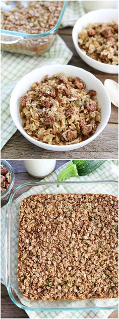 Zucchini Bread Baked Oatmeal Recipe on twopeasandtheirpod.com This healthy baked oatmeal will remind you of your favorite zucchini bread! It's easy to make and you can reheat it during the week!