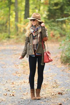 Weekend Fall-fillment: brown field jacket with suede elbow patches, camel wool felt panama hat, red green and blue plaid blanket scarf, oversized scarf, 7 for all mankind slim illusion legging jeans, brown suede ankle boots, red leather Coach crossbody bag, layered fall look