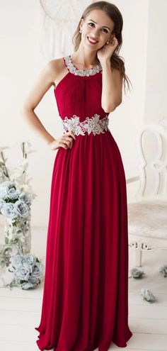 This is a sleeveless long burgundy chiffon prom dress with lace. Silhouette:A-line Neckline:Round neck Hemline/Train:Floor Length Sleeve Length:Sleeveless Embellishment: Lace Back Details:Zipper Fabric:Chiffon Chiffon Evening Dresses, Chiffon Dress, Evening Gowns, Lace Chiffon, Day Dresses, Prom Dresses, Formal Dresses, Quinceanera Dresses, Bridesmaid Dresses