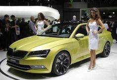 The new Skoda Superb is on display on the first press day of the Geneva International Motor Show Tuesday, March 2015 in Geneva, Switzerland. The show opens its doors to the public March 5 through March (AP Photo/Laurent Cipriani) Geneva Motor Show, Classic Sports Cars, Show Photos, Car Car, Hot Cars, Maserati, Dream Cars, Super Cars, Bike