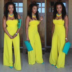 2016 Hot Sexy Strapless Straight Loosed Yellow Jumpsuits for Women