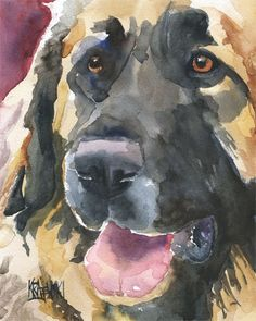 Leonberger Original Watercolor Painting Dog Art by dogartstudio, $65.00