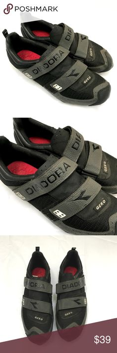 Mens Diadora Geko Black Cycling Shoes US 10 EU 44 Mens Diadora Geko Cycling Shoes US 10 Euro 44 Black Grey Biking Mesh Cleats M  Mens black and grey cycling shoes. Lace up front with top cover/closure over the laces. Cleated bottoms.  Very good condition. There is some peeling right around the ankle. Please see photos.  US Mens Size 10 - UK 9.5 - Euro 44  Please check out my Trixy Xchange Closet for more Men's clothing and shoes! :) Diadora Shoes Athletic Shoes