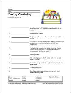 Boxing Printables - Boxing Wordsearch. Print the Boxing Word Search and find the Boxing related words.: Boxing Vocabulary