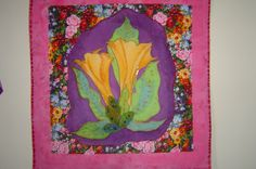 Trumpet flowers, silk quilted
