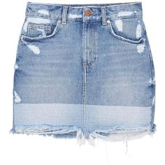 Ripped-Detail Denim Skirt ($44) ❤ liked on Polyvore featuring skirts, mango skirts, ripped denim skirt, distressed denim skirt, embellished skirts and distressed skirt