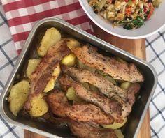 Χοιρινή πανσέτα στο φούρνο με πατάτες | Συνταγή | Argiro.gr - Argiro Barbarigou Greek Recipes, Sausage, Pork, Food And Drink, Meat, Chicken, Food Ideas, Kale Stir Fry, Sausages
