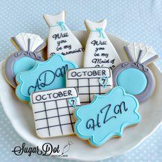 "Sugar Dot Cookies: ""Will You Be My Bridesmaid?"" Sugar Cookies with Royal Icing"