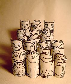 Paper roll zoo save toilet paper tubes to make these for Stella:)