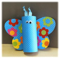 TOILET PAPER BUTTERFLY: TP rolls, Construction Paper, Butterfly Wing Template, Pipe Cleaners, Sequins, Wiggly Eyes, Paint, Paintbrushes, Scissors, Glue, Black Marker