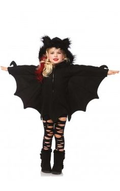 Fly into the night in Leg Avenue's Cozy Bat Halloween costume. This zipper-front fleece dress features bat wing sleeves and adorable furry bat ears on the hood. This costume is so comfy, you'll never want to take it off! Bat Halloween Costume, Halloween Costumes For Girls, Halloween Fancy Dress, Halloween Kids, Toddler Bat Costume, Kids Costumes Girls, Girl Costumes, Fantasias Halloween, Halloween Disfraces