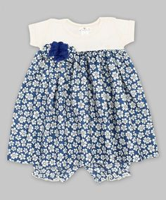 Another great find on #zulily! Blue & Ivory Floral Babydoll Dress & Bloomers - Infant by Truffles Kids #zulilyfinds