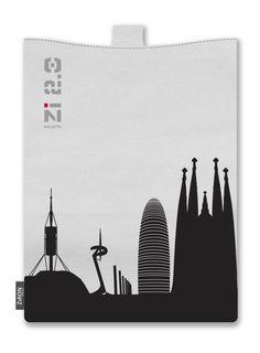 """""""A la ville de... Barcelona"""". Precioso este skyline de la Ciudad Condal con cuatro de sus arquitectos: Gaudí, Nouvel, Calatrava y Foster. La funda es para tablets de 7"""" y 11"""". www.ziron.es Gaudi, Barcelona, Skyline, Tablets, Spain, Architects, Cities, Barcelona Spain, Antoni Gaudi"""