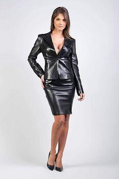Black leather skirt and jacket ensemble