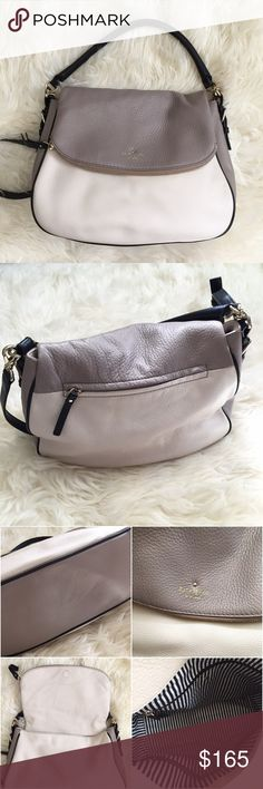 "Kate Spade NY Cobble Hill Devin Cream & Taupe Bag Beautiful preloved leather bag in cream, taupe, & black. Inside bag signature black & white stripes. Measures approximately 13"" across and 10"" length. Has two black leather straps/handles. ✔️OFFERS WELCOME ✔️BUNDLE DISCOUNTS  ❌NO TRADES  ❌NO PAYPAL kate spade Bags Satchels"