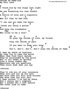 Phil Ochs Song Chords Of Fame By Lyrics And